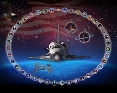 This illustration depicts NASA's space shuttle Discovery encircled by the mission patches from each of its 39 missions, from STS-41D to STS-133