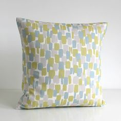 One pillow cover in trend colours of duck egg, light grey, dusky blue, muted citron, beige, pale blue, light denim and off white. A modern Scandinavian collection of beautiful cottons. FABRIC Front - Please select your pattern from the drop down menu above:  1. Scandi leaf duck egg (100% cotton) 2. Scandi stripes duck egg (100% cotton) 3. Daisies duck egg (100% cotton) 4. Scandi circles duck egg (100% cotton) 5. Scandi blocks duck egg (100% cotton) 6. Catkins duck egg (100% cotton)  Back…