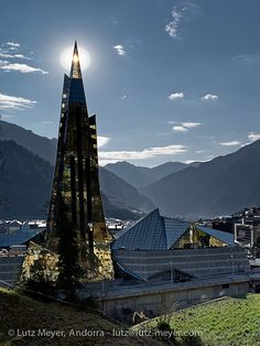 Caldea spa in Escaldes-Engordany, heated by natural hot spring water which is plentiful in the parish.
