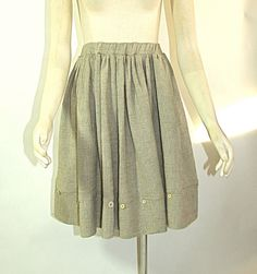 Taupe Colored Crinkle Cotton Skirt with by vintagebycassandra