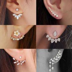 Compra 2018 6 Style 2 Colors Gold/Silver Women Fashion Double Side Crystal Flower Shaped Earings Hypoallergenic Ear Stud Earrings en Wish- Comprar es divertido Ear Jewelry, Silver Jewelry, Jewelry Accessories, Fine Jewelry, Women Jewelry, Jewelry Design, Jewelry Ideas, Silver Ring, Jewelry Gifts