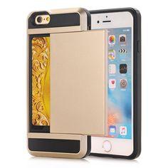 Luxury Hide Card Back Slide Case For iPhone 4 5 6 7 iPhone 4S 5S 6S 5C SE iPhon 6 7 Plus 6plus 7Plus Coque Armored Cover Cases