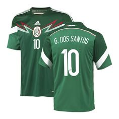 ec9007f8884 G. Dos Santos #10 Mexico adidas Youth 2014 World Soccer Replica Home Jersey  - Green. Mexico National Team ...