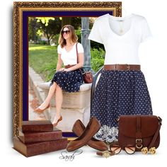 Get the Look: Polka Dot Skirt, created by of-simple-things on Polyvore