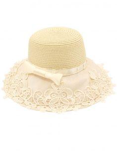 ad492e20bfe Dahlia Women s Summer Sun Hat - Lace Spliced Brim Bow Straw Sun Hat Sun Hats  For