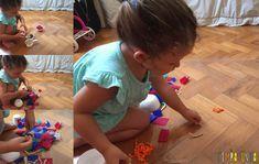 Explorar materiais- uma atividade e tanto para as crianças - gabi colando os materiais