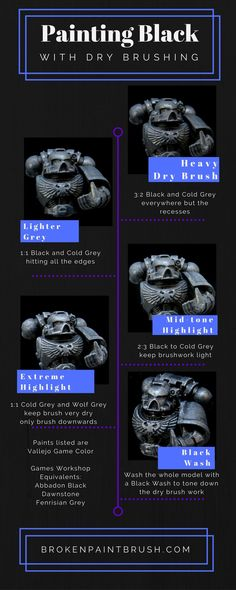 How to paint black with dry brushing