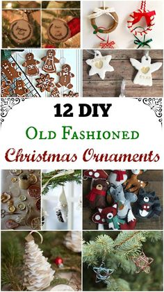 12 tasteful cute and beautiful DIY Old Fashioned Christmas Ornaments from felt wood wire and fruit. Easy homemade ornaments your kids can make too. Homemade Ornaments, Diy Christmas Ornaments, Homemade Christmas, Diy Christmas Gifts, Rustic Christmas, Christmas Projects, Dough Ornaments, Retro Christmas, Felt Christmas