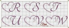 Crochet Alphabet, Cross Stitch Alphabet Patterns, Embroidery Alphabet, Cross Stitch Letters, Cross Stitch Needles, Cross Stitch Heart, Cross Stitch Designs, Cross Stitching, Cross Stitch Embroidery
