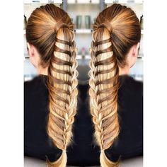 Turn your basic ponytail into a dramatic, multilayered braid. (Photo courtesy stylist a_kool) Braided Hairstyles For Wedding, Diy Hairstyles, Pretty Hairstyles, Updo Hairstyle, Haircuts, Waterfall Twist, Waterfall Braids, Hair Art, Hair Styls