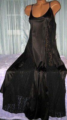 #Priceabate Black Nylon Long Nightgown Black Lace Panels 1X 2X 3X Womens Plus Size Lingerie - Buy This Item Now For Only: $23.0