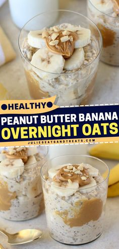 Here's an easy and healthy breakfast idea for busy mornings - a mix of oats, chia seeds, peanut butter, and syrup topped with sliced bananas. No more excuses to skip breakfast with this healthy breakfast idea! Healthy Peanut Butter, Peanut Butter Banana, Healthy Baking, Eating Healthy, Healthy Meals, Savory Breakfast, Breakfast Dishes, Breakfast Recipes, Breakfast Ideas
