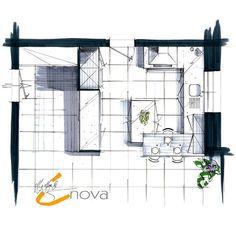 Chez Inova on vous réalise vue de dessus et perspectives à la main ✏ A vos cuisines, à nos crayons !! #dessin #fabricationfrancaise #perspective #crobar #plan #madeinfrance #cuisine #fabricant #distributeur #cucine #kitchens #interior #inovacuisine