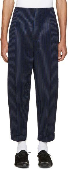Haider Ackermann - Blue & White Striped Trousers