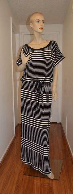 Ava & Viv New 2X  20W-22W  Maxi DRESS Black White Striped Short Sleev MSRP 34.99 #AvaViv #Maxi