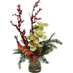 Equally at home as part of a winter-themed centerpiece or displayed on your hall console table, this faux orchid and berry arrangement offers natural appeal ...