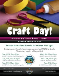 Come to a Craft Day at the library this summer! Science Crafts For Kids, Library Events, Library Programs, Craft Day, Craft Projects, Arts And Crafts, Summer, Summer Time, Art And Craft