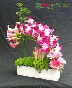 Centro de diseño con orquideas, calas, liliums y gerberas.