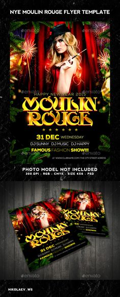 Christmas Flyer Template, Flyer Size, Font Names, Nye, Photoshop, Templates, Fonts, Green, Moulin Rouge