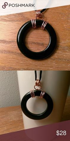 Onyx and Copper Pendant The bail is wide enough for any chain clasp to fit through Jewelry Necklaces