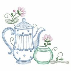 Tea Pot embroidery design from embroiderydesigns.com