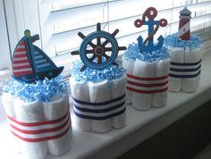 Sailor baby shower @Bobbie Mitchell Mitchell Mitchell Mitchell Mitchell wilson Mini Diaper Cakes, Beach Wedding Favors, Nautical Theme, Souvenir, Beach Wedding Gifts
