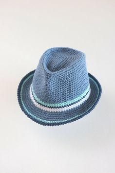 Baby Boy Fedora Hat Toddler Crochet Cotton Summer Hat Denim Fedora Newborn Photo Props Baby Shower Gift Boys Sun Hat This trendy fedora hat would be a