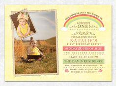 Printable Rainbow Birthday Invitations ~ Over the rainbow girls photo birthday invitations girl photos