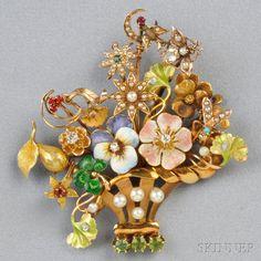 14 kt Gold Gem-set Stickpin Brož   Prodej Číslo 2659B, Číslo šarže 365   Skinner Auctioneers