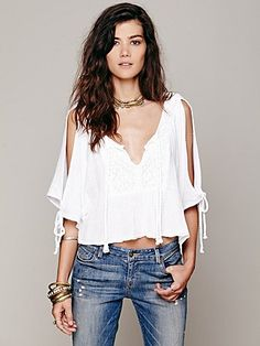 Free People Boxy Open Shoulder Top
