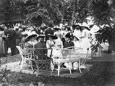 Grand Duke Nikolaus Friedrich Wilhelm of Oldenburg at a garden party in Potsdam , in the center: Princess Victoria Louise of Prussia - Photographer: Selle & Kuntze- property of ullstein. Grand Duke, Oldenburg, Princess Victoria, Prussia, Still Image, Garden, Party, Royals, Table