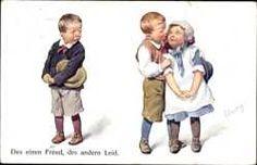 Artiste Cp Feiertag, Karl, Des einen Freud, des andern Leid, Liebespaar, Kinder