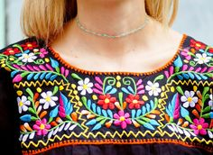 Bordado mexicano blusa top negro Boho Folk tela flores