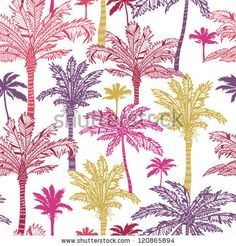 Vector palm trees seamless pattern background with hand drawn elements