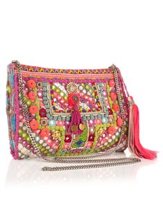 Fold over Neon Mirror X Body    £35.00  Embellished mirror fold over clutch with beautiful bead embellishment, pom pom and charm detail, large tassel charm and zip fastening.