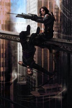 Bucky Barnes and Clint Barton / Hawkeye sniping like snipers. Fanart. < WHY DO I LOVE THIS SO MUCH <3 <3 <3
