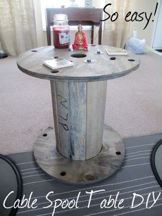 We snagged a cable spool, did a super easy diy  project, and repurposed it as a side table. Read the how-to steps on the blog post!   #cablespool #easydiy #repurpose #table #greywash