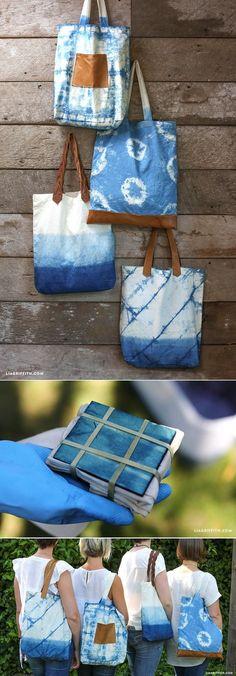 Great inspiration for shibori dyeing. Tote bags dyed with indigo using tie dye & shibori techniques How To Tie Dye, How To Dye Fabric, Tie Dye Techniques, Shibori Techniques, Diy Sac, Diy Bags Purses, Shibori Tie Dye, Gift Bags, Tote Bags