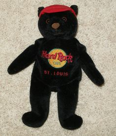 HARD ROCK CAFE COLLECTIBLE BLACK BEANIE BEAR - ST. LOUIS - CHARLIE BEARA