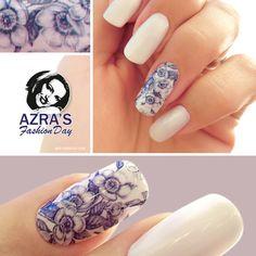 "Azra's Fashion Day: Gentle flower and a perfect summer day! Nailart ""Like a bone china"" #Wassertransferfolien #nails #naildesign #Nagelkunst #nailart"