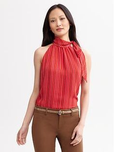 Sandra printed tie-neck blouse | Banana Republic