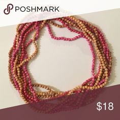 Tan and pink rock bead necklaces Sold all four together. Can be separated into four individual necklaces. Dyed rock beads from Wisconsin. Super durable and super cute. Have worn these many times in many different ways and they still looks new. Jewelry Necklaces