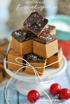 20 FABULOUS RECIPES FOR FUDGE:  shown: salted caramel fudge