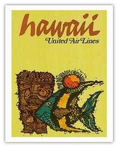 United Airlines Hawaii, Fish & Tiki c.1967 - Vintage Travel Poster