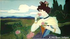 Carl Sigmund Luber, Art Nouveau landscape tile with maiden smelling flower