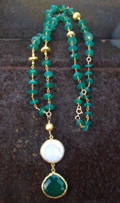 Green Onyx and Pearl Pendant on Green Onyx and Bali Gold Vermeil Rosary Chain Necklace