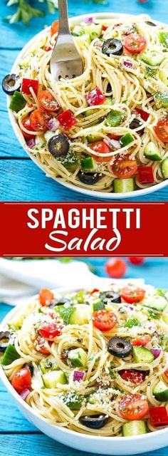 This recipe for spaghetti salad is a unique pasta salad full of crunchy vegetables and parmesan cheese, all tossed together in a homemade zesty Italian dressing. The perfect dish to feed a crowd when (Spaghetti Recipes) Easy Potluck Recipes, Healthy Recipes, Vegetarian Recipes, Easy Meals, Cooking Recipes, Grilling Recipes, Unique Pasta Salad, Easy Pasta Salad, Pasta Salad Recipes
