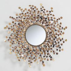 An artful wreath of coin-shaped metal in a gamut of bronze, copper and brass tones brings irresistible flair to our wall mirror. Hang it in your entryway, dining room or over the mantel for dazzling design impact. Cool Mirrors, Mirror Art, Diy Mirror, Large Mirrors, Mirror Ideas, Vintage Wall Art, Vintage Walls, Vintage Mirrors, Copper And Brass