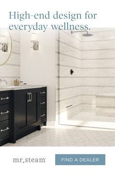 Build wellness into your shower by adding a MrSteam steam bath when you renovate. Contact your local steam shower expert for more details. Bathroom Tile Designs, Bathroom Design Luxury, Bathroom Interior, Bathroom Ideas, Steam Bath, Beach House Bathroom, Small Bathroom, Bathtub Shower Combo, Master Bathroom Layout