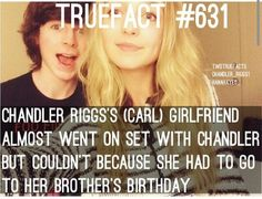The walking dead fact - Green Walking Dead Facts, Walking Dead Quotes, Walking Dead Show, Walking Dead Season, Fear The Walking Dead, Chandler Riggs, Brother Birthday, Brother Sister, Twd Memes